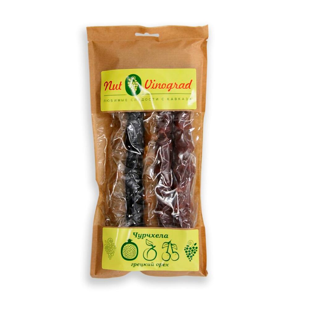 Чурчхела ассорти с грецким орехом (светлый виноград, гранат, абрикос, вишня, темный виноград), 5 шт. в вакууме