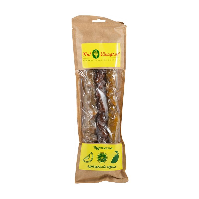Чурчхела ассорти с грецким орехом (дыня, грейпфрут, манго)