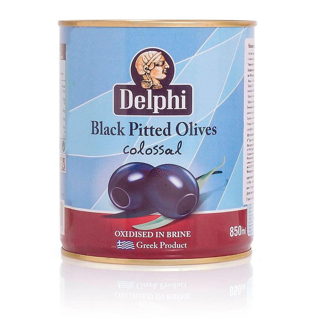 Маслины без косточки в рассоле DELPHI Colossal 121-140 820г