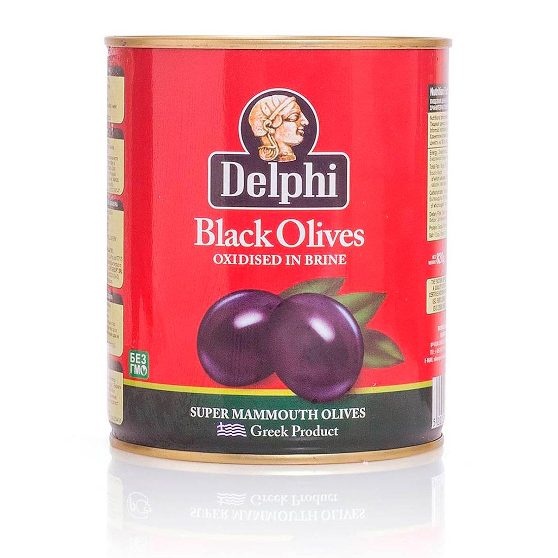 Маслины с косточкой в рассоле DELPHI Super Mammouth 91-100 820г