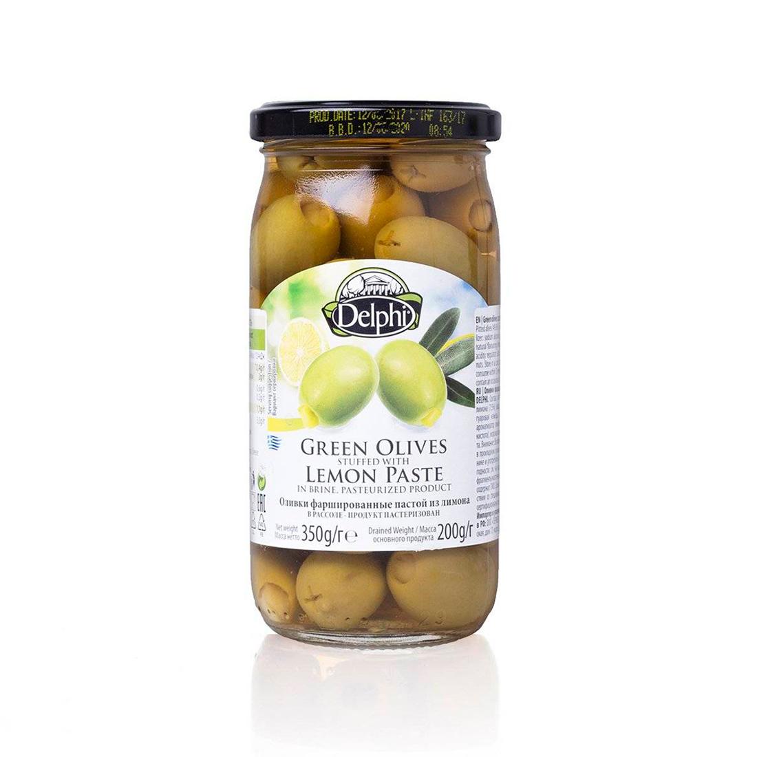 Оливки фаршированные пастой из лимона в рассоле DELPHI 350г