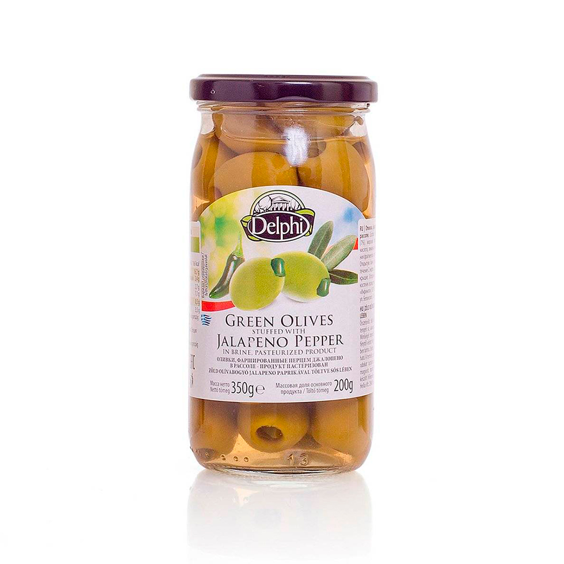 Оливки фаршированные перцем Джалопено в рассоле DELPHI 350г