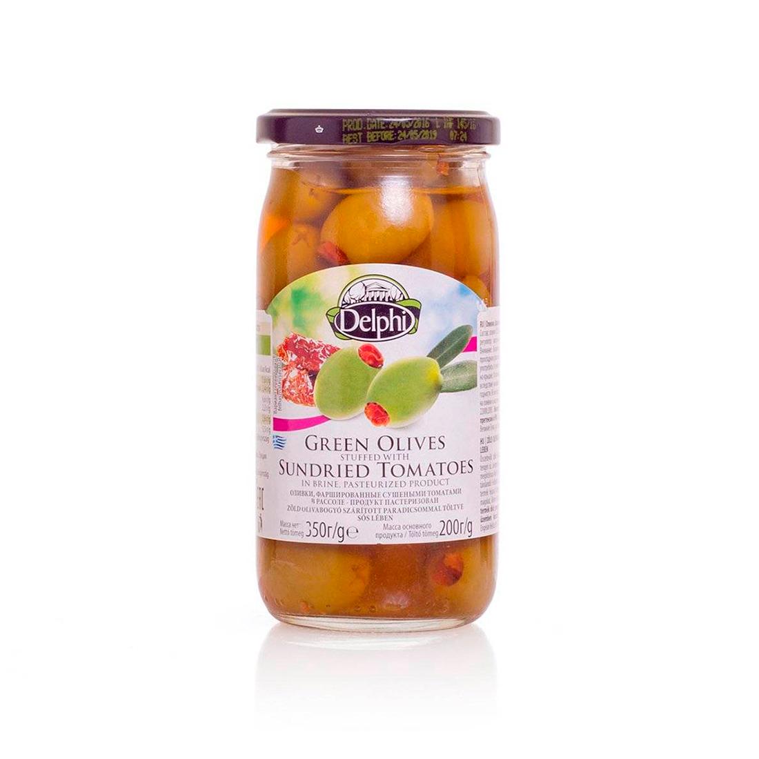 Оливки фаршированные сушеными томатами в рассоле DELPHI 350г