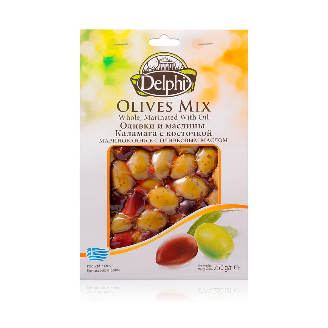 Оливки и маслины Каламата с косточкой маринованные, с оливковым маслом, DELPHI 250г
