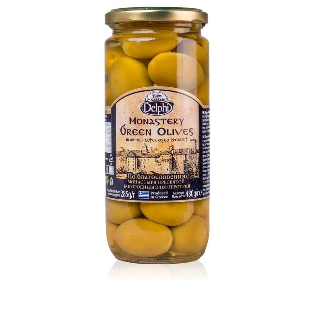 Оливки с косточкой в рассоле Монастырские DELPHI 480г